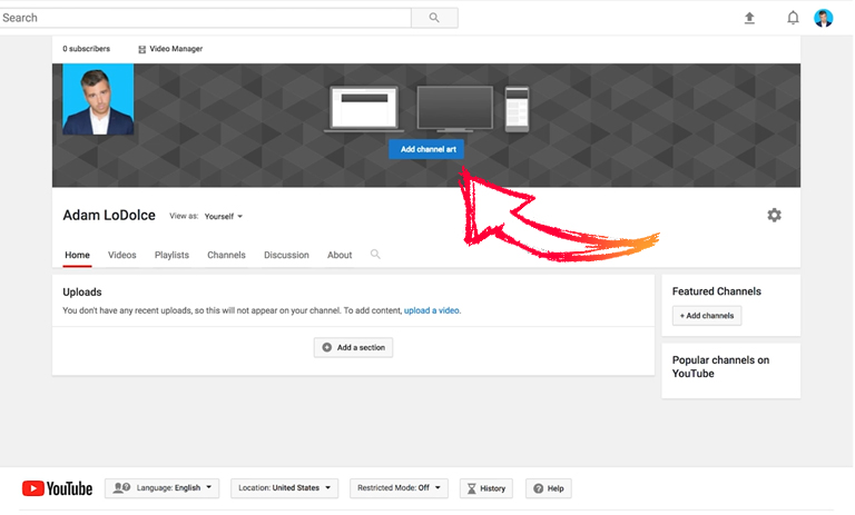 How to setup YouTube channel – Customize channel art
