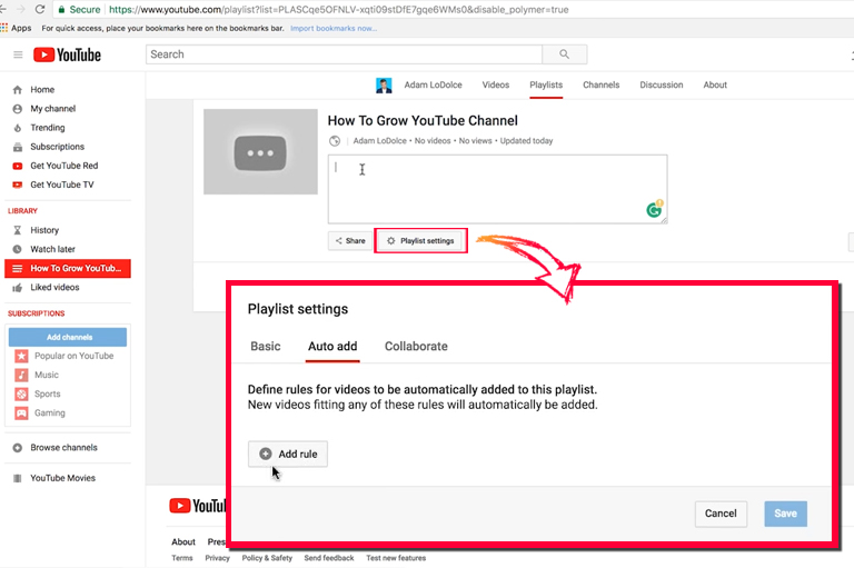 How to setup YouTube channel – Auto Add Playlists