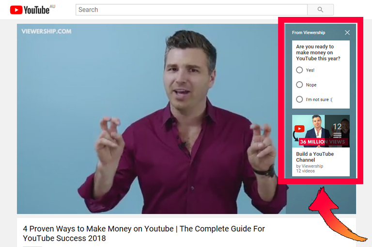How to build a YouTube audience – example of cards in YouTube video