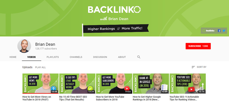YouTube channel art template — Backlinko's use of branding