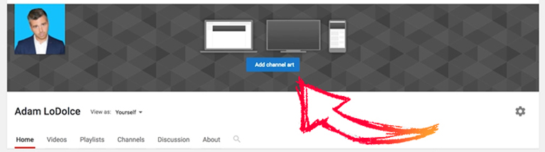 YouTube channel art template — replace the default banner